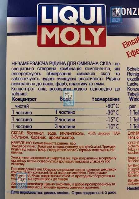 Жидкость омывателя зимняя концентрат -80°C 1л LIQUI MOLY 8837: продажа