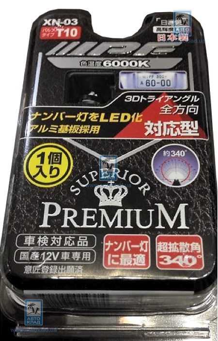 Автолампа LED W5W T10 3D 6000K IPF XN03: описание
