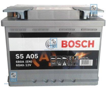 Аккумулятор гелевый AGM S5 60Ач 680А BOSCH 0 092 S5A 050