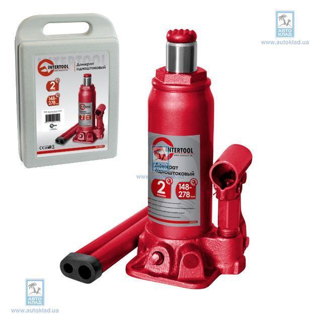 Домкрат одноштоковый 2т, в чемодане INTERTOOL GT0051