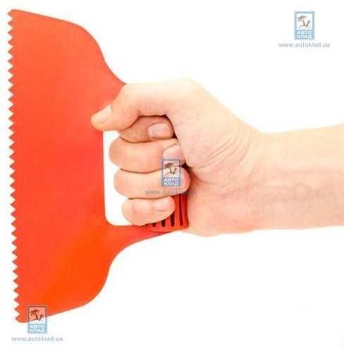 Шпатель пластиковый 230 мм зубчатый INTERTOOL KT2811