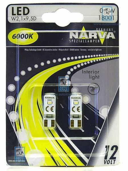 Автолампи LED W5W 6000K комплект 2шт NARVA 18001