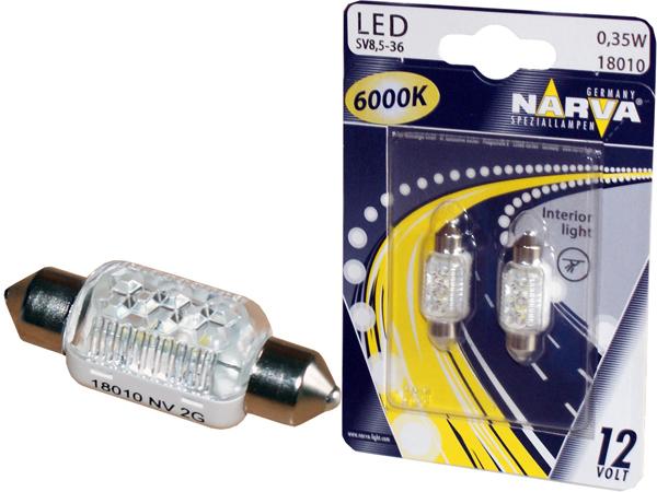Автолампа LED C5W 6000K L=38мм комплект 2шт NARVA 18010