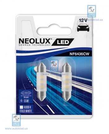 Автолампа LED Interior C5W L=36мм комплект 2шт NEOLUX NF6436CW02B