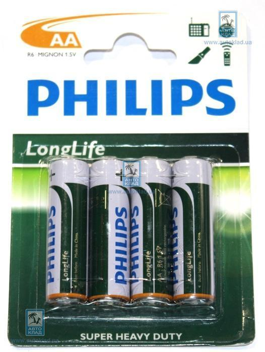 Батарейка солевая AA комплект  4шт. PHILIPS R6L4B10
