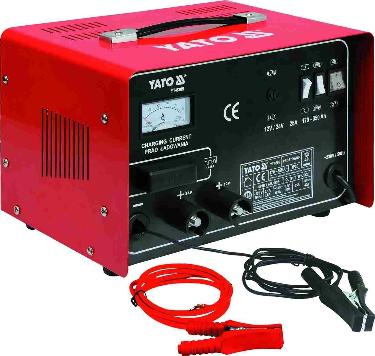 Пуско-зарядное устройство 12/24В 25А 350Ач YATO YT8305